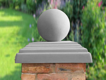 Stepped Flat Pier Caps with Sphere in Grey