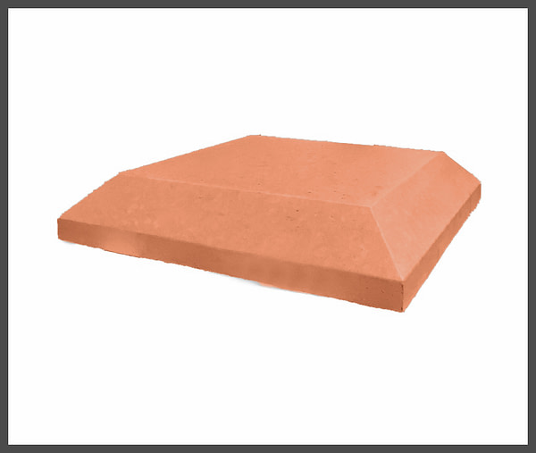 15 inch Chamfered Flat Pier Caps in Terracotta
